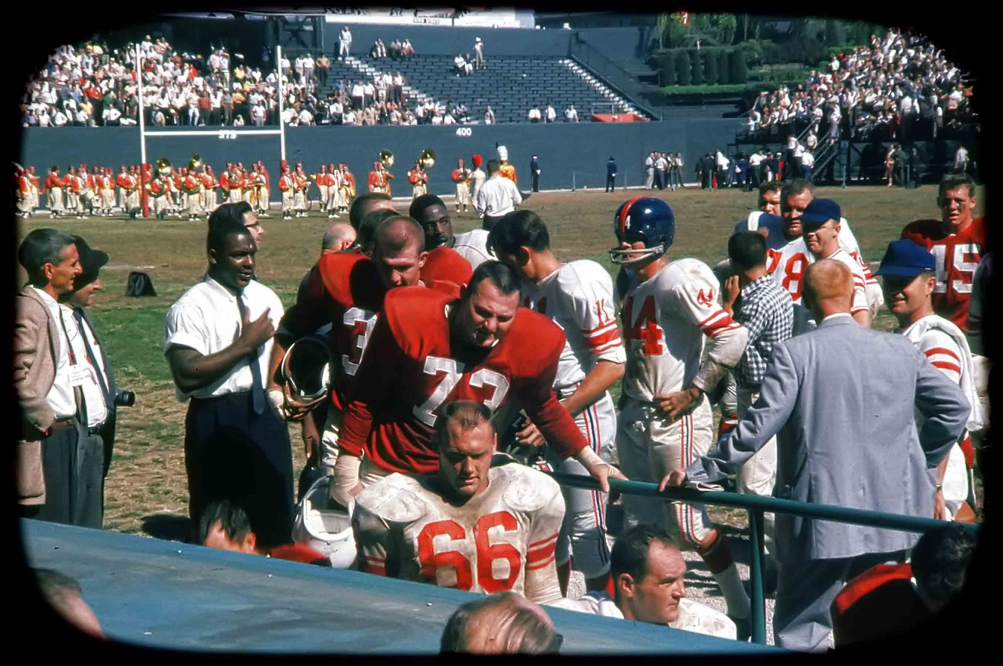 Jack Stroud (66), Lee Grosscup (11), Kyle Rote (44), New York Giants at St. Louis Cardinals (October 8, 1961)