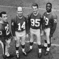 Jimmy Patton (20), Y.A. Tittle (14), Del Shofner (85), Rosey Brown (79), New York Giants (1962)