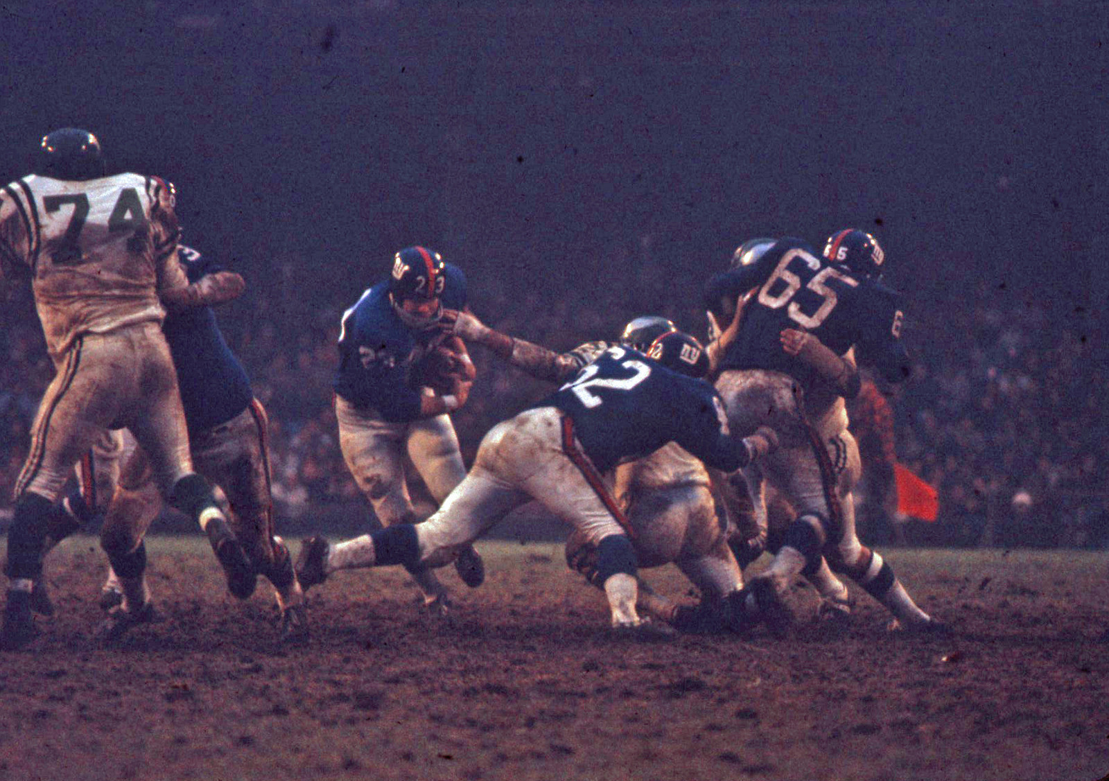 Ernie Koy (23), Darrell Dess (62), Pete Case (65), New York Giants (November 17, 1968)