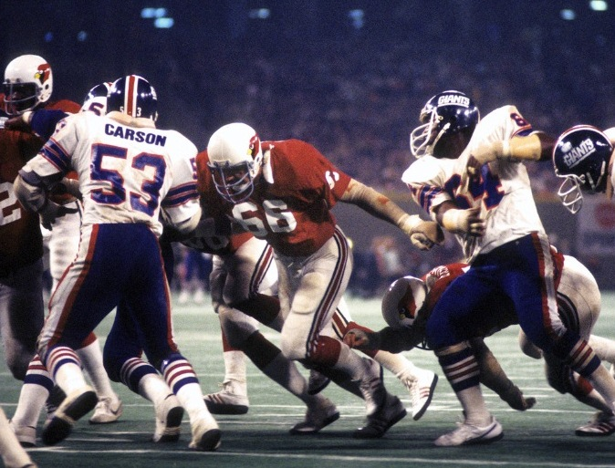 Harry Carson (53) and John Mendenhall (64), New York Giants (October 31, 1977)