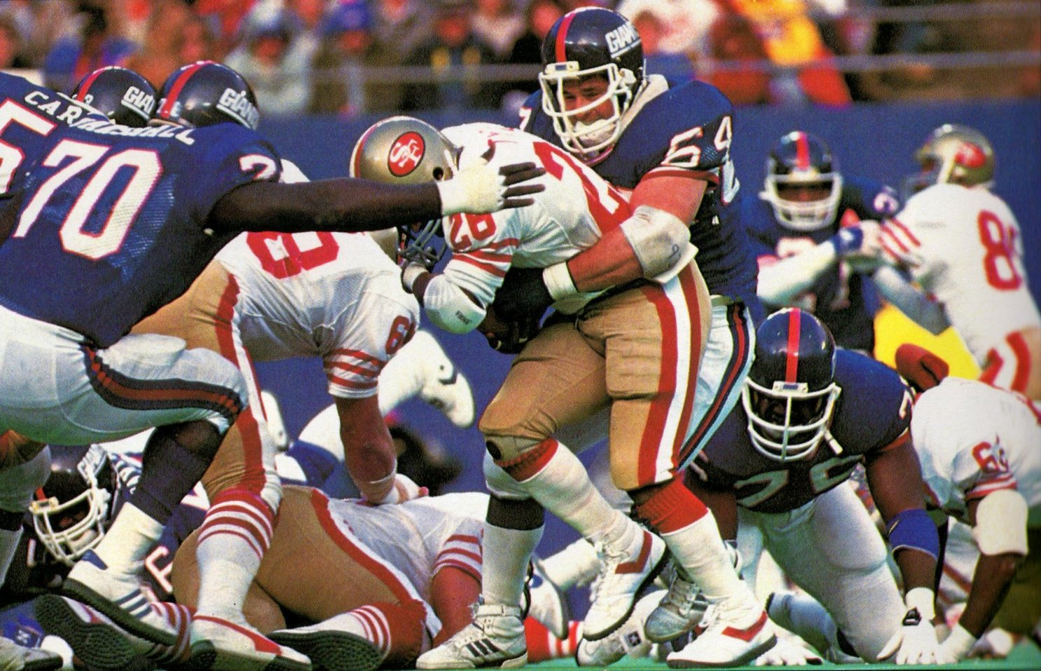 Leonard Marshall (70) and Jim Burt (64), New York Giants (December 29, 1985)
