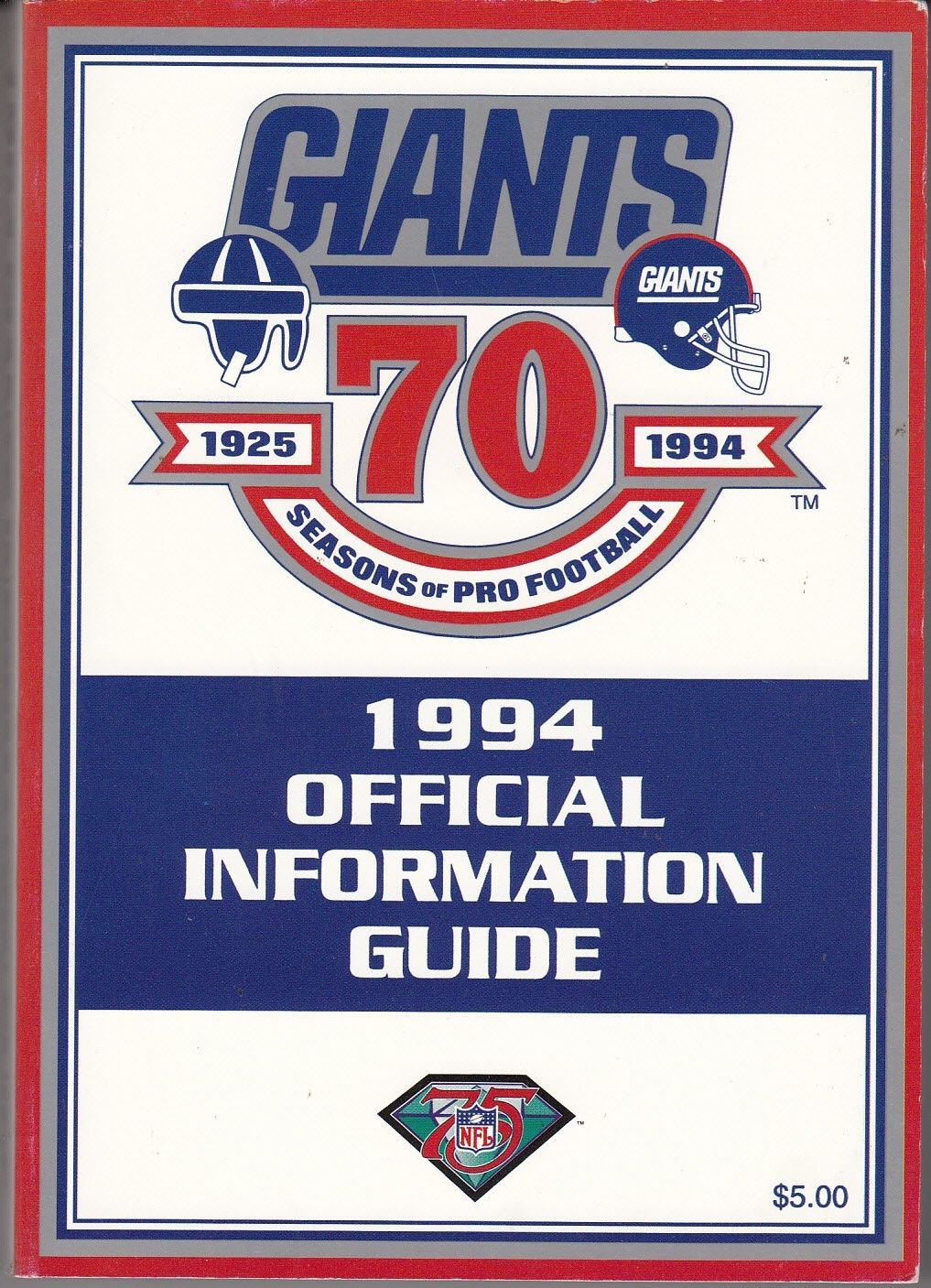 New York Giants 1994 Media Guide