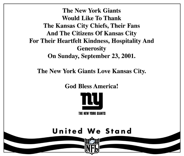 Ad placed by the New York Giants in The Kansas City Star