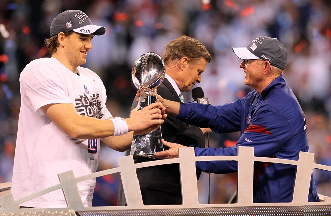 Eli Manning and Tom Coughlin, New York Giants (February 5, 2012)