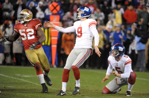 Lawrence Tynes (9), Steve Weatherford (5), New York Giants (January 22, 2012)