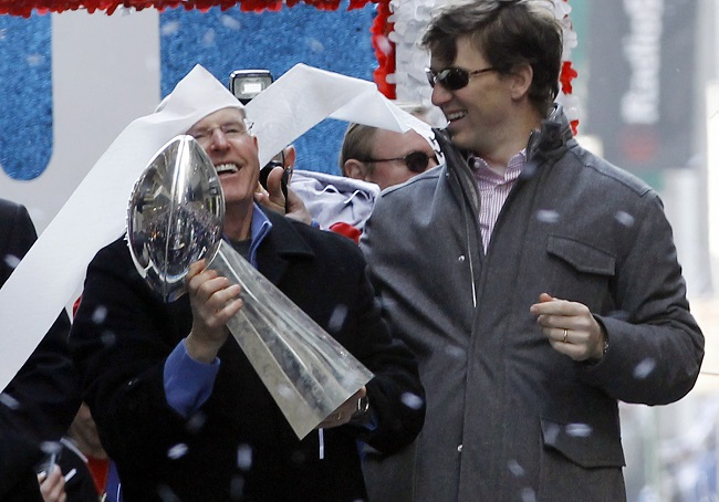 Tom Coughlin and Eli Manning, New York Giants (February 7, 2012)