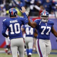 Eli Manning (10), Kevin Boothe (77), New York Giants (January 8, 2012)