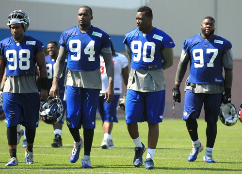 Adrian Tracy (98), Mathias Kiwanuka (94), Jason Pierre-Paul (90), Linval Joseph (97), New York Giants (July 27, 2013)