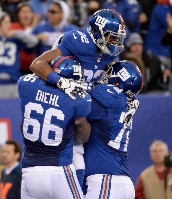 David Diehl (66), Rueben Randle (82), Justin Pugh (72), New York Giants (November 10, 2013)