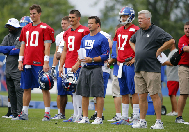 Eli Manning (10), David Carr (8), Sean Ryan, Curtis Painter (17), Kevin Gilbride, New York Giants (July 28, 2013)