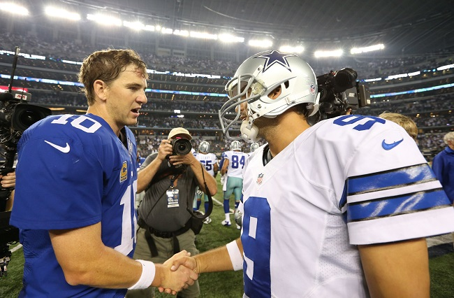 Eli Manning, New York Giants; Tony Romo, Dallas Cowboys (September 8, 2013)