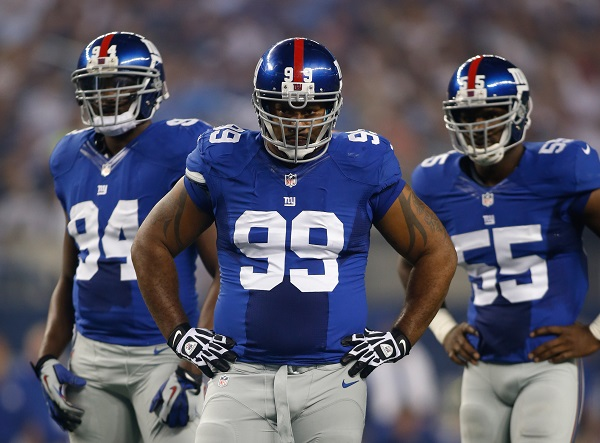 Mathias Kiwanuka (94), Cullen Jenkins (99), Keith Rivers (55); New York Giants (September 8, 2013)