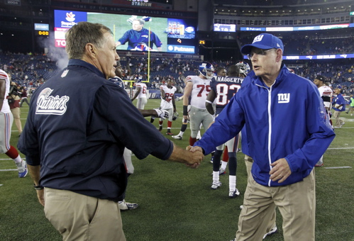 Bill Belichick and Tom Coughlin (August 29, 2013)