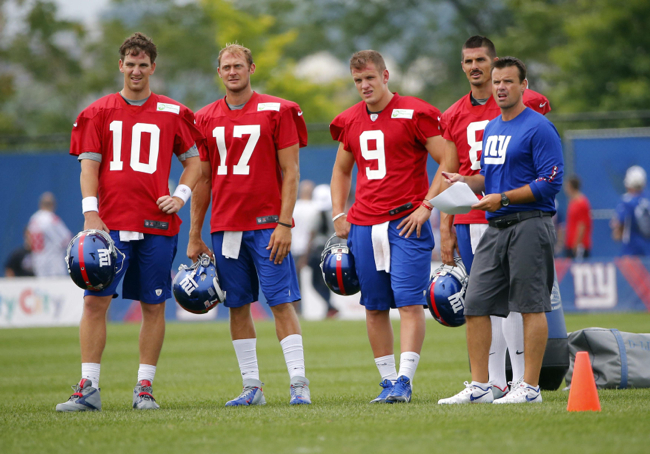 Eli Manning (10), Curtis Painter (17), Ryan Nassib (9), David Carr (8), Sean Ryan, New York Giants (July 28, 2013)