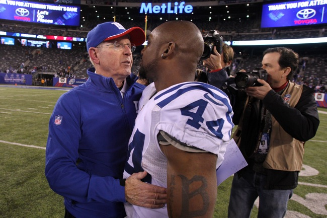 Tom Coughlin and Ahmad Bradshaw, New York Giants (November 3, 2014)