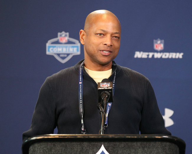 Jerry Reese at the NFL Combine – © USA TODAY Sports Images