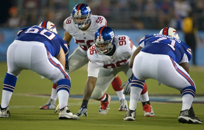 Mark Herzlich (58) and Jay Bromley (96), New York Giants (August 3, 2014)