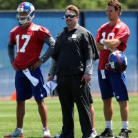 Curtis Painter, Ben McAdoo, and Eli Manning; New York Giants (June 18, 2014)