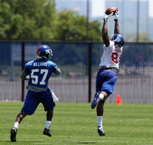 Jacquian Williams (57) and Larry Donnell (84), New York Giants (June 18, 2014)
