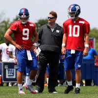 Ryan Nassib (9), Ben McAdoo, and Eli Manning (10), New York Giants (July 22, 2014)