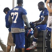 Stevie Brown and Jon Beason, New York Giants (June 12, 2014)