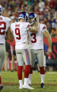Brad Wing and Josh Brown, New York Giants (November 8, 2015)