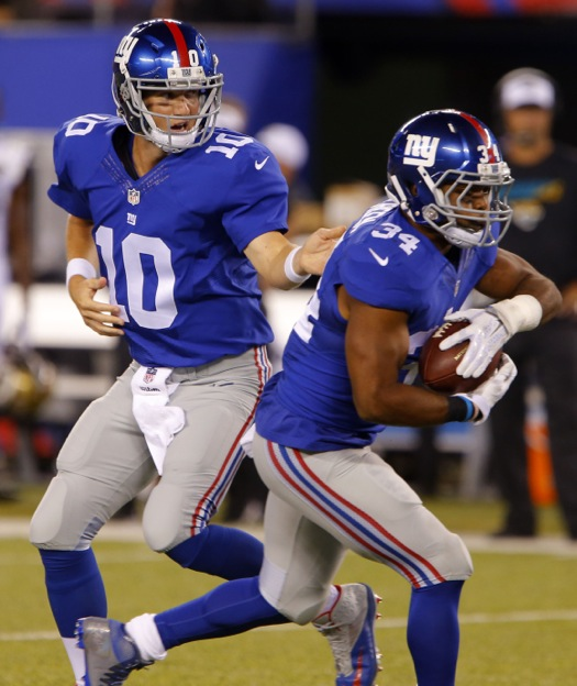 Eli Manning and Shane Vereen, New York Giants (August 22, 2015)