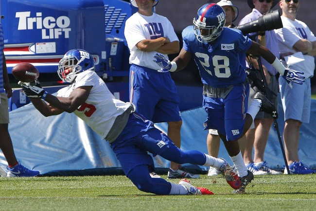 Geremy Davis and Jayron Hosley, New York Giants (July 31, 2015)