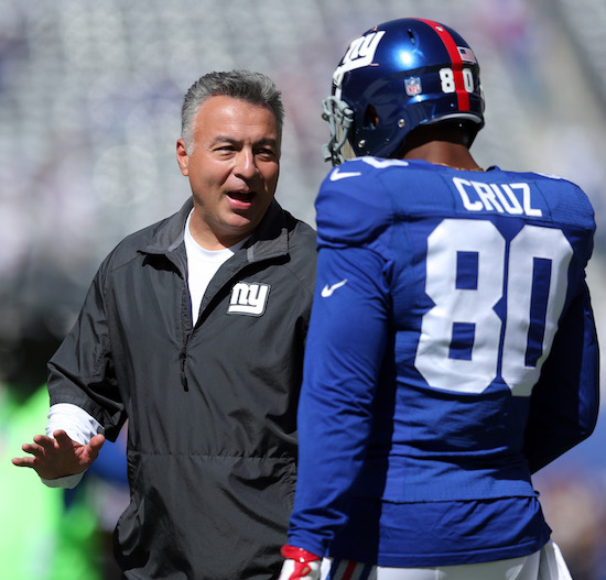 Mike Sullivan and Victor Cruz, New York Giants (September 25, 2016)