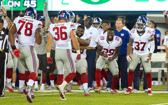 New York Giants Celebrate First Preseason Win (August 27, 2016)