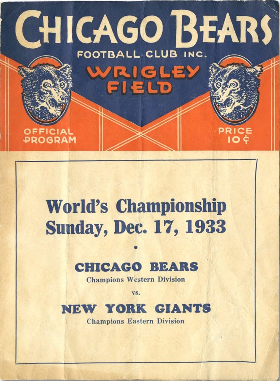 New York Giants - Chicago Bears NFL Championship Game Program (December 17, 1933)