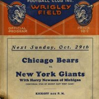 Green Bay Packers at Chicago Bears Program Cover - Promotion for New York Giants at Chicago Bears game on October 29, 1933