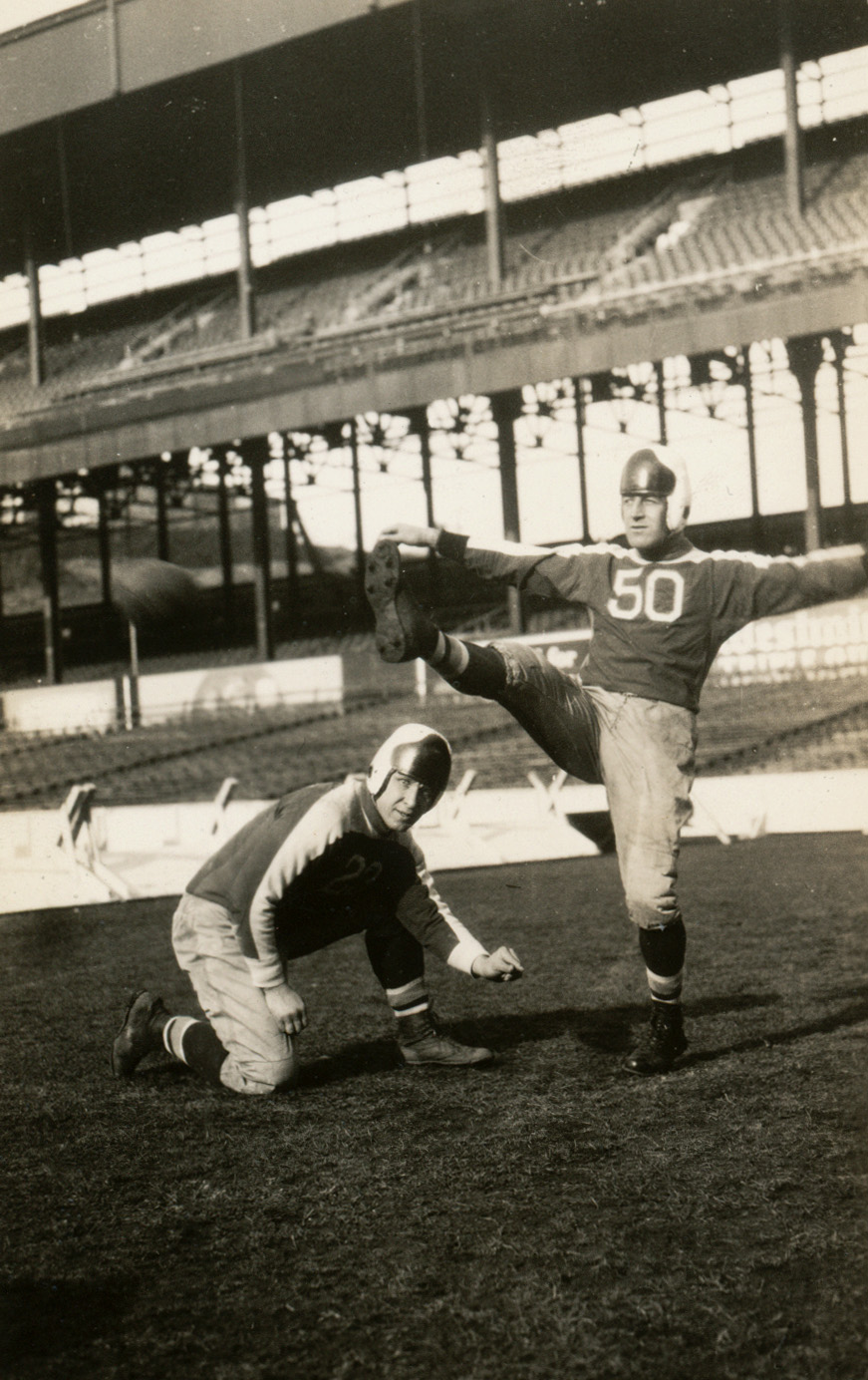 Bo Molenda holding, Ken Strong (50) kicking (1934 New York Giants)