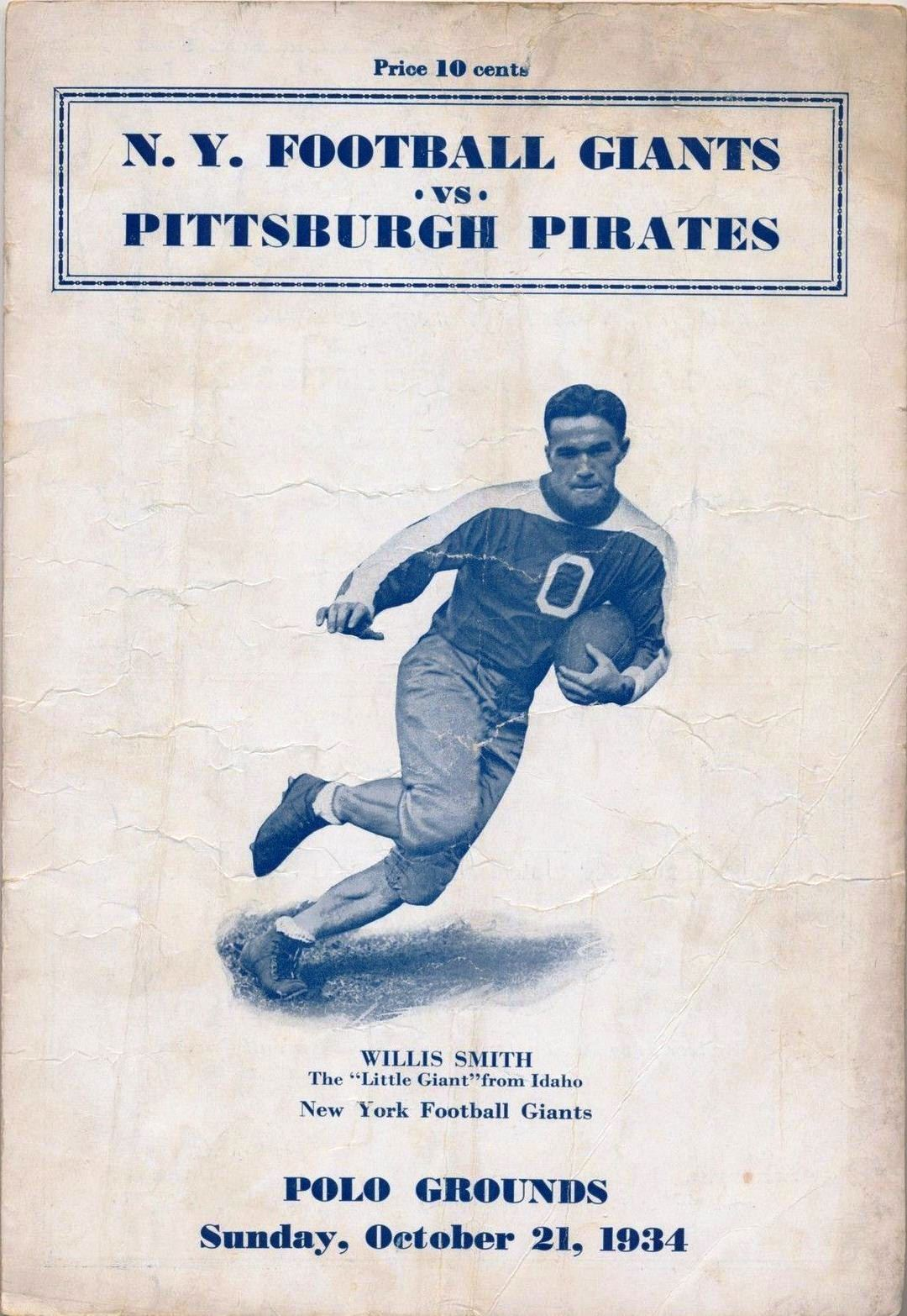 Willis Smith, New York Giants (October 21, 1934)