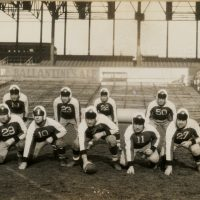 Ray Flaherty (1), Mel Hein (7), Butch Gibson (11), Bill Morgan (27), Red Badgro (21), Dale Burnett (18), Bo Molenda (23), Ed Danowski (22), Ken Strong (50), New York Giants (1934) - Photo Courtesy of Rev. Mike Moran