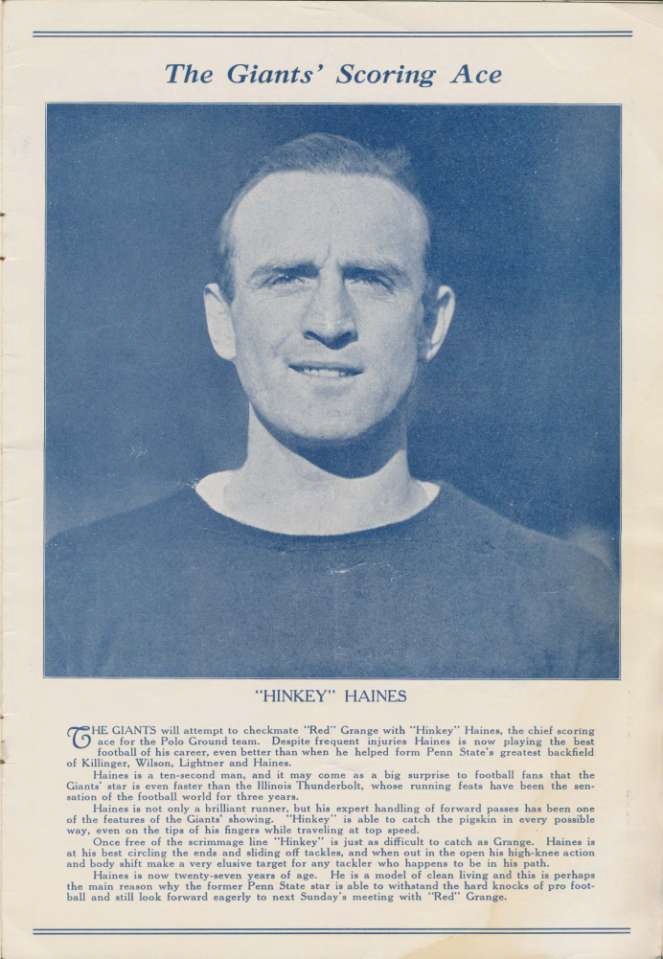 Hinkey Haines, New York Giants (December 6, 1925)