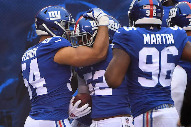Olivier Vernon, Alec Olgetree, and Kareem Martin; New York Giants (December 2, 2018)