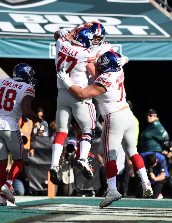 Spencer Pulley and Will Hernandez, New York Giants (November 25, 2018)
