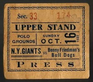 New York Giants vs Cleveland Bulldogs (October 16, 1927)