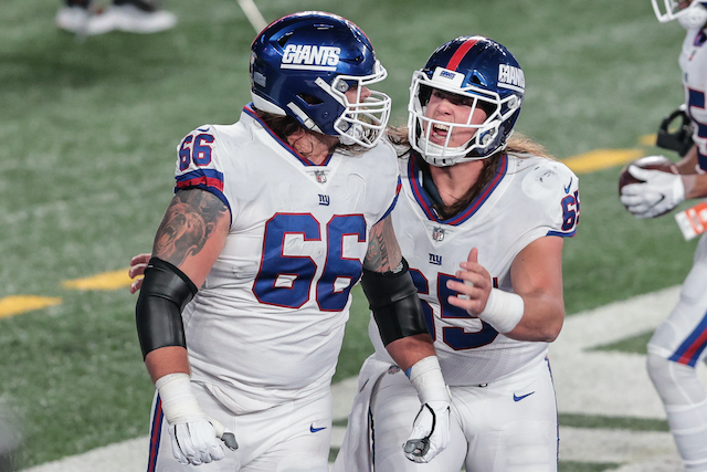 Shane Lemieux and Nick Gates, New York Giants (November 2, 2020)