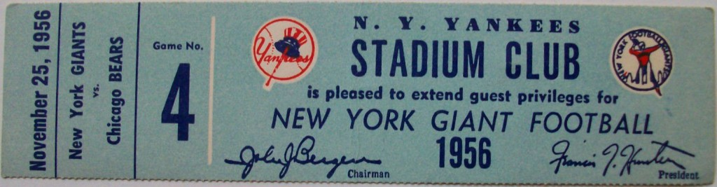 Chicago Bears at New York Giants Stadium Club Ticket (November 25, 1956)
