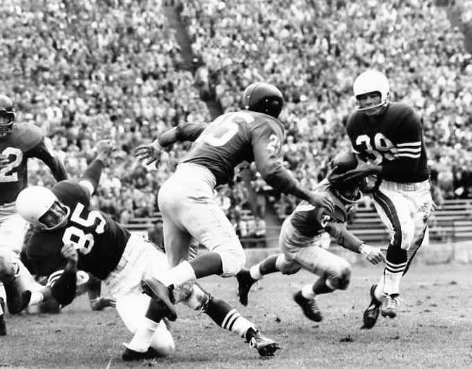 Dick Nolan (25), Jimmy Patton (20), Hugh McElhenney (39); New York Giants at San Francisco 49ers (September 30, 1956)