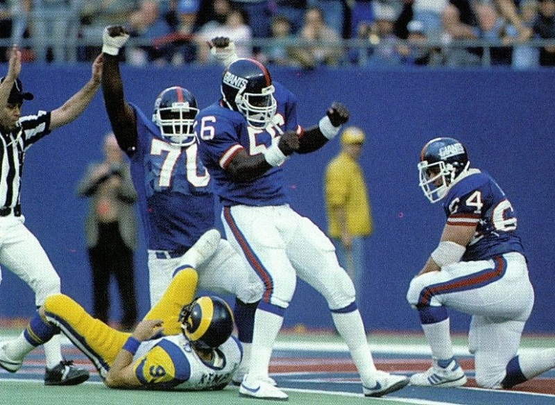 Leonard Marshall, Lawrence Taylor, Jim Burt; New York Giants (November 10, 1985)
