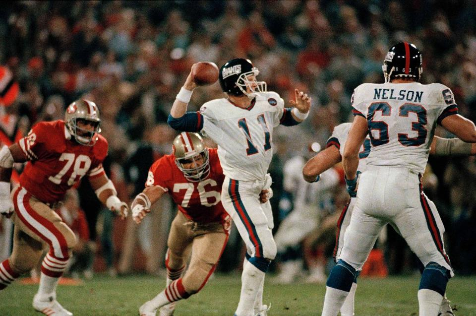 Phil Simms and Karl Nelson, New York Giants (December 1, 1986)