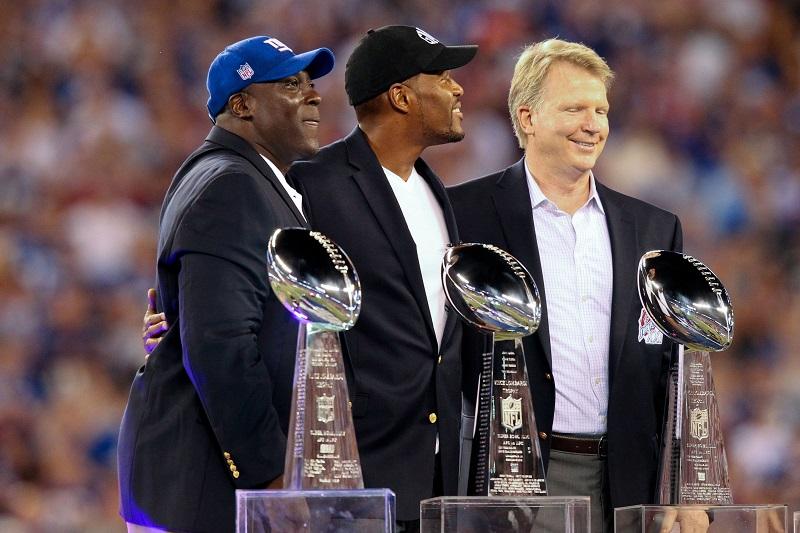 Otis Anderson, Michael Strahan, Phil Simms, New York Giants (September 5, 2012)