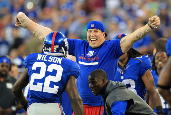 David Wilson and David Diehl, New York Giants (August 24, 2013)