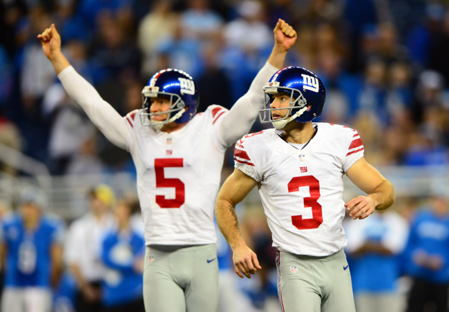 Steve Weatherford (5), Josh Brown (3), New York Giants (December 22, 2013)