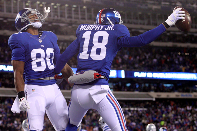 Victor Cruz (80), Louis Murphy, Jr. (18), New York Giants (November 24, 2013)