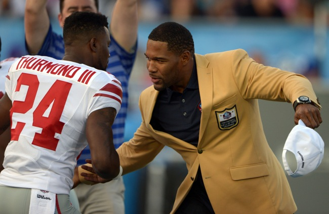 Walter Thurmond and Michael Strahan, New York Giants (August 3, 2014)