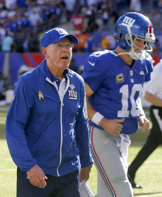 Tom Coughlin and Eli Manning, New York Giants (September 20, 2015)